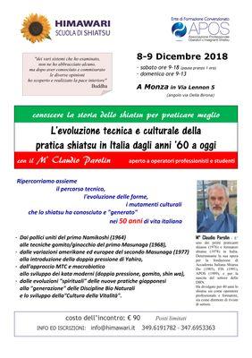 L'EVOLUZIONE TECNICA E CULTURALE DELLA PRATICA SHIATSU IN ITALIA...  8 9dic2018  locandina1 001